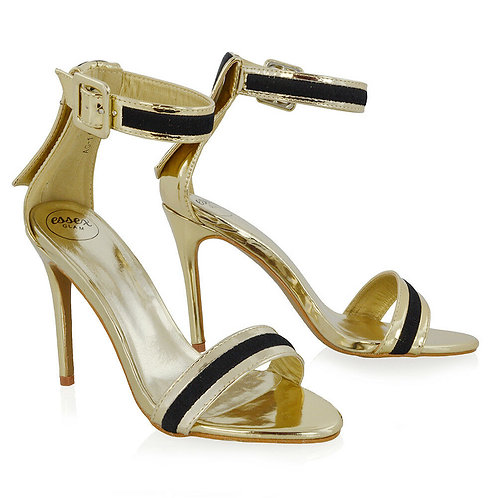 NEW - COMFY Strappy Stiletto High Heel Sandals  - 4 colours UK 3-8