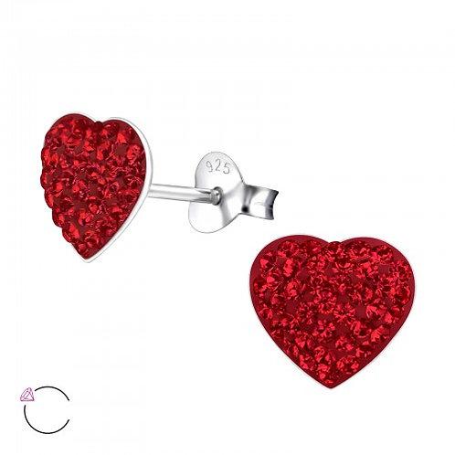 Heart - 925 Sterling Silver Crystal Ear Studs