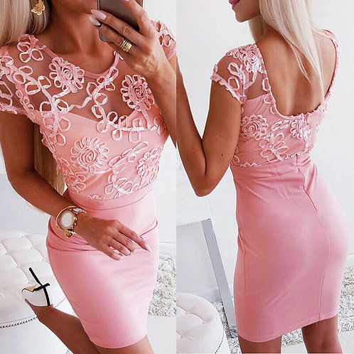 Sexy beaded round neck waist embroidered pink dress