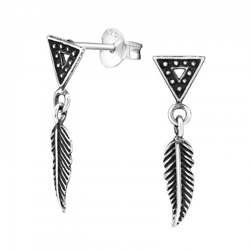 Triangle With Hanging Feather - 925 Sterling Silver Plain Ear Studs
