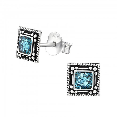 Square - 925 Sterling Silver Plain Ear Studs