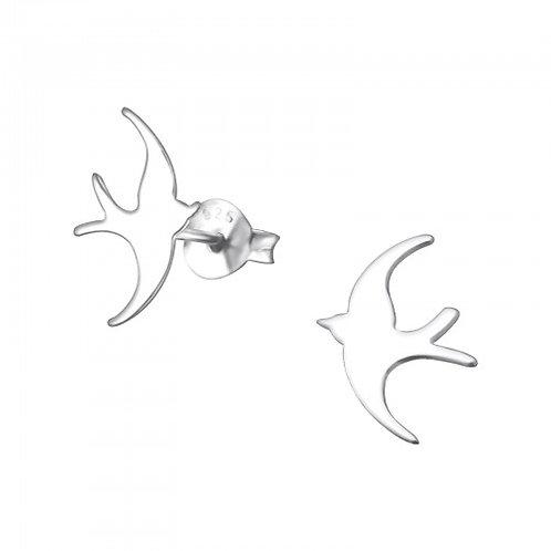 Bird - 925 Sterling Silver Plain Ear Studs