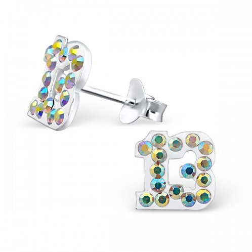 Thirteen - 925 Sterling Silver Crystal Ear Studs