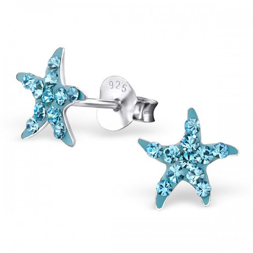 Starfish - 925 Sterling Silver Crystal Ear Studs