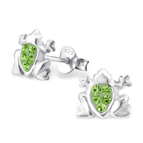 Frog - 925 Sterling Silver Crystal Ear Studs