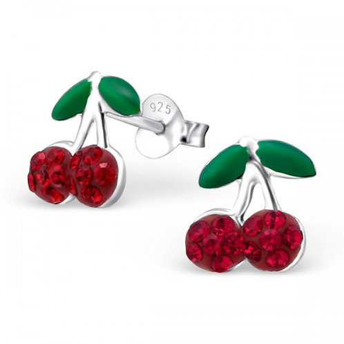 Cherry - 925 Sterling Silver Crystal Ear Studs