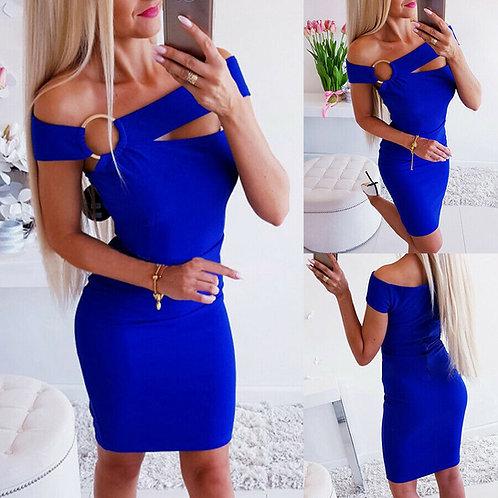 ROYAL BLUE Off Shoulder Bodycon Dress