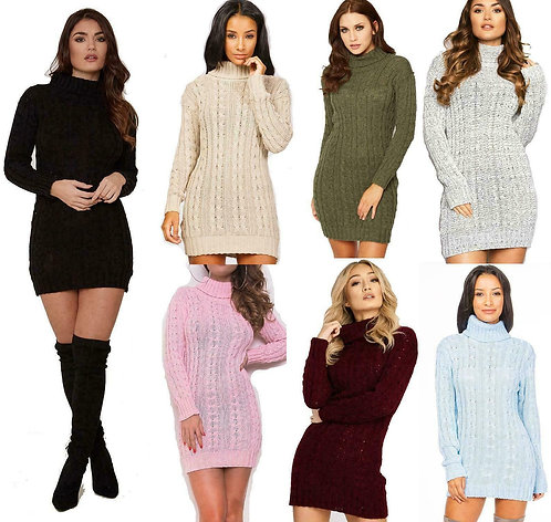 Long Sleeve Cowl Polo Neck Cable Knitted Mini Dress