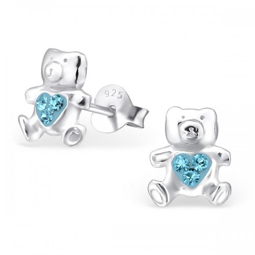 Bear - 925 Sterling Silver Crystal Ear Studs