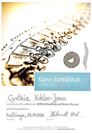 Zertifikat Cynthia Jones Dorn Breuss Anwendung