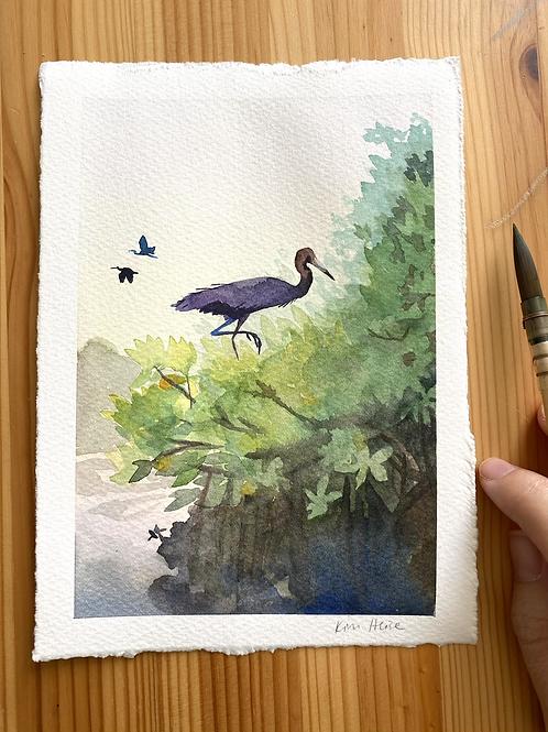 Little Blue Heron on Mangroves original watercolor