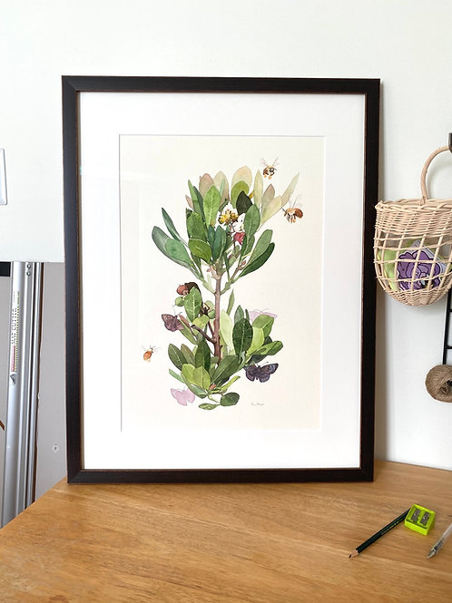 Locust Berry Relationships Framed Original Watercolor