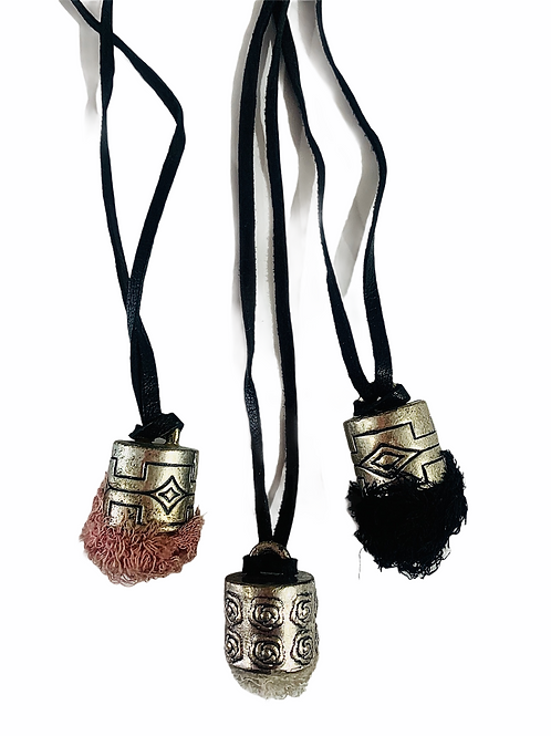 Moroccan Tuft Necklace with Black Leather