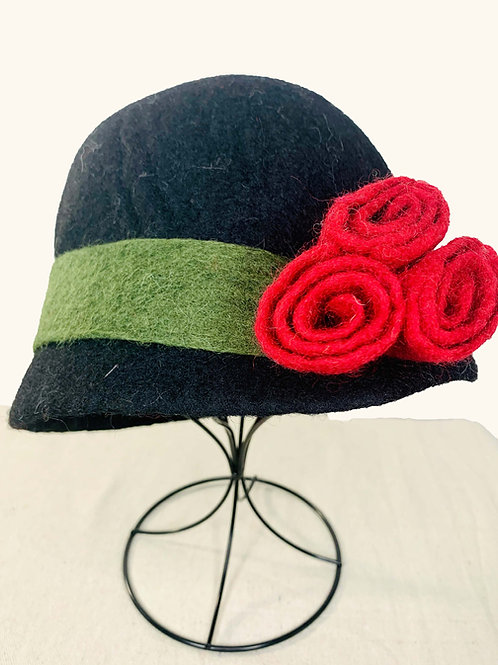 Black Hat with Red Flowers (Hat B)