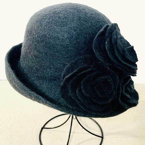 Charcoal Hat with Charcoal Roses (Hat M)