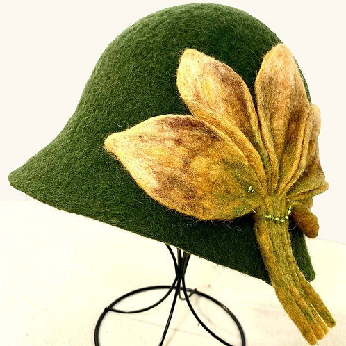 Green Hat with Yellow Leaves (Hat N)
