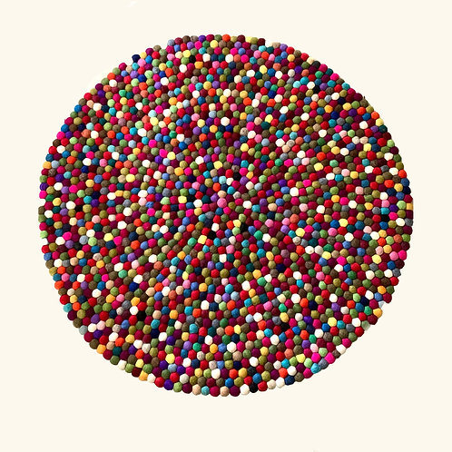 Felt Ball Rug - Multi-colored