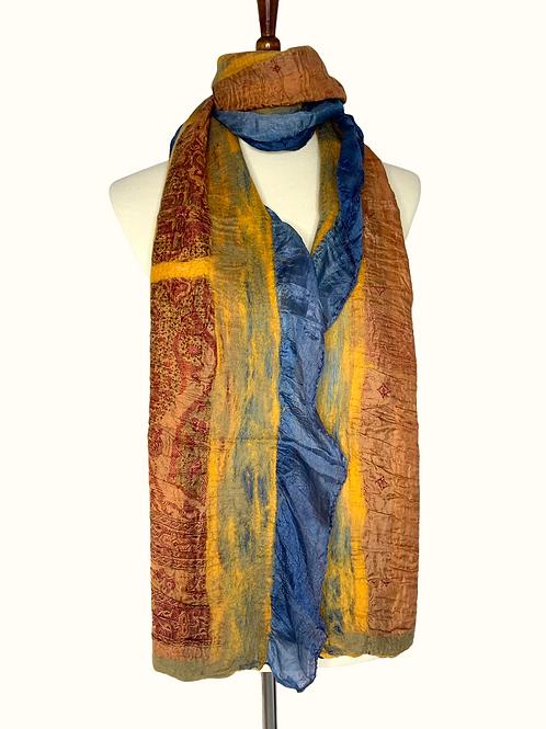 Navy Side Silk - Marigold