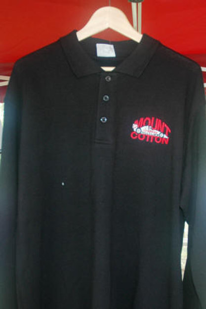 Mt Cotton long sleeve  polo shirt (Black)