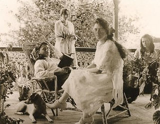 Roche family on the verandah of their homestead at Rochedale