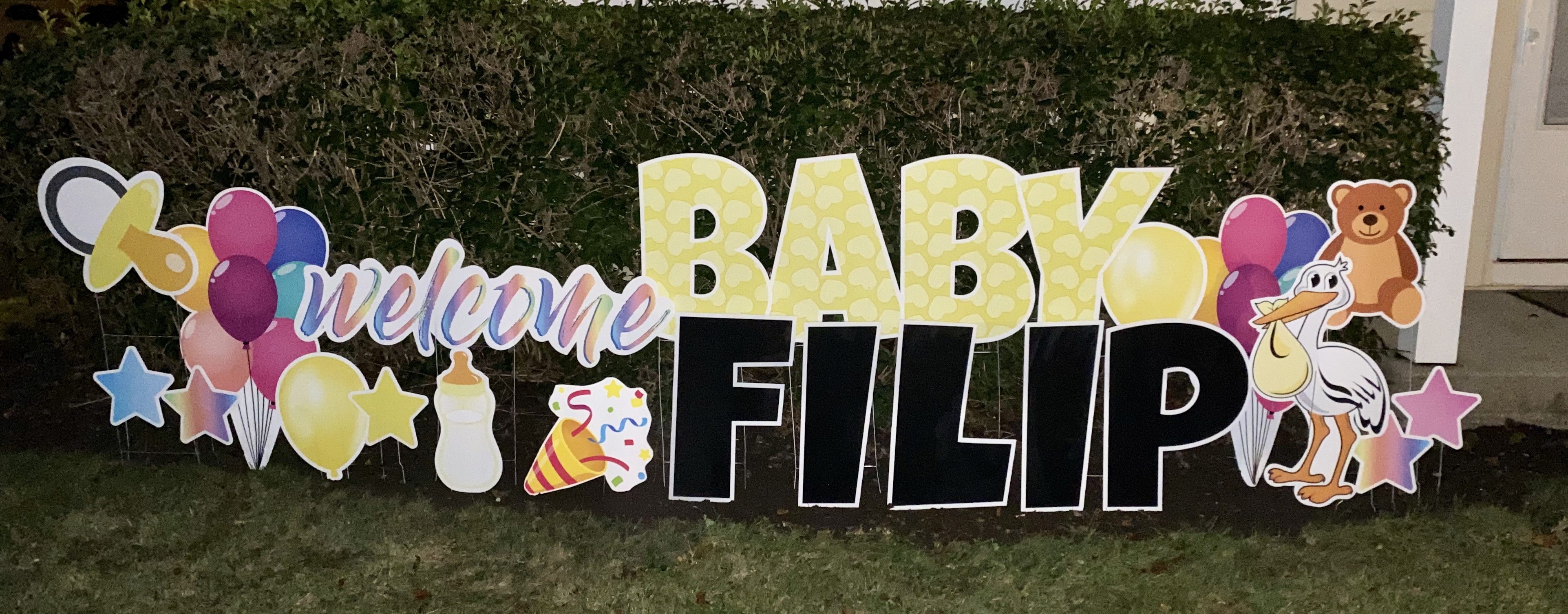 baby package, black letters