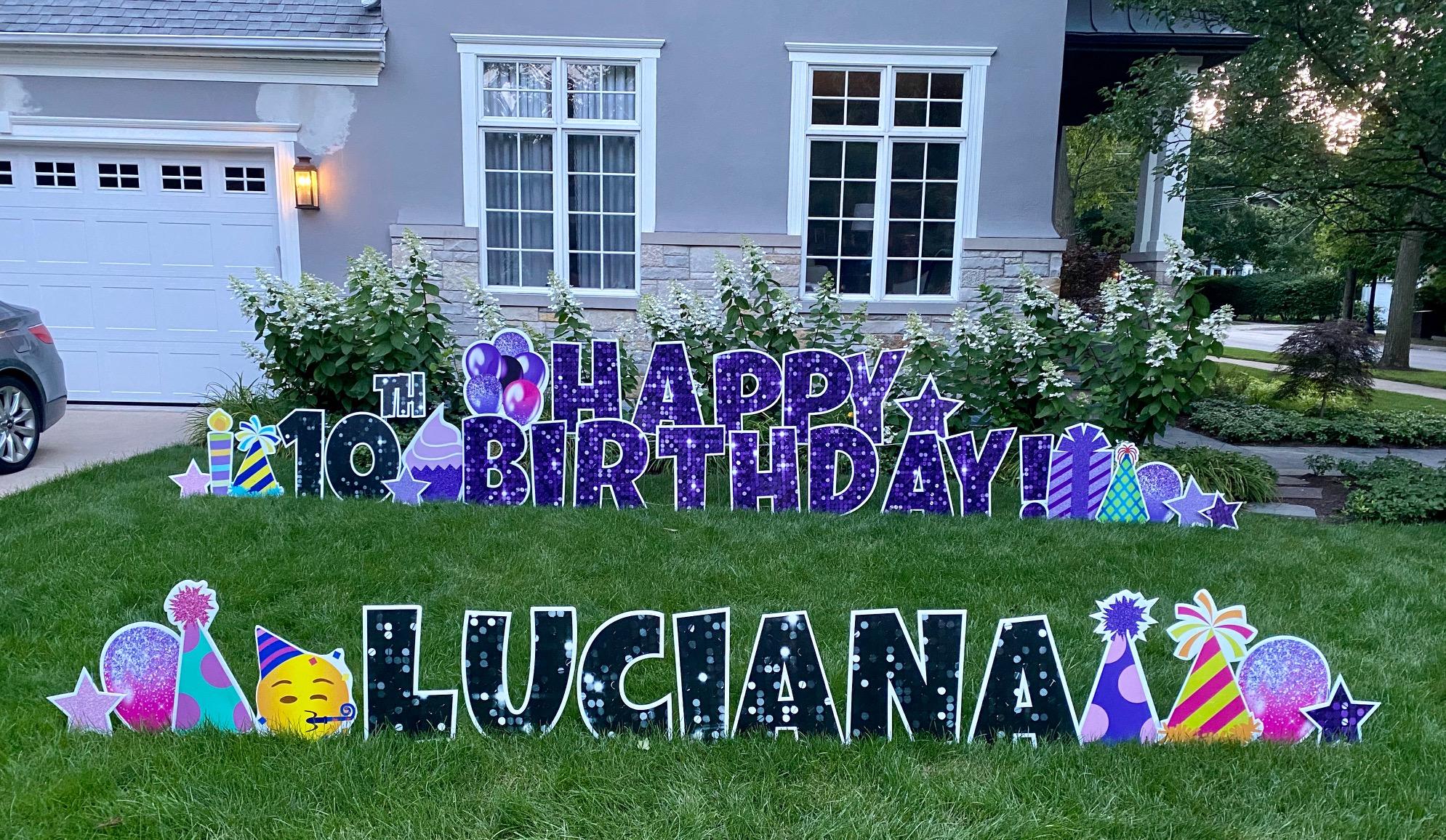 purple sparkle set, black sparkle letters