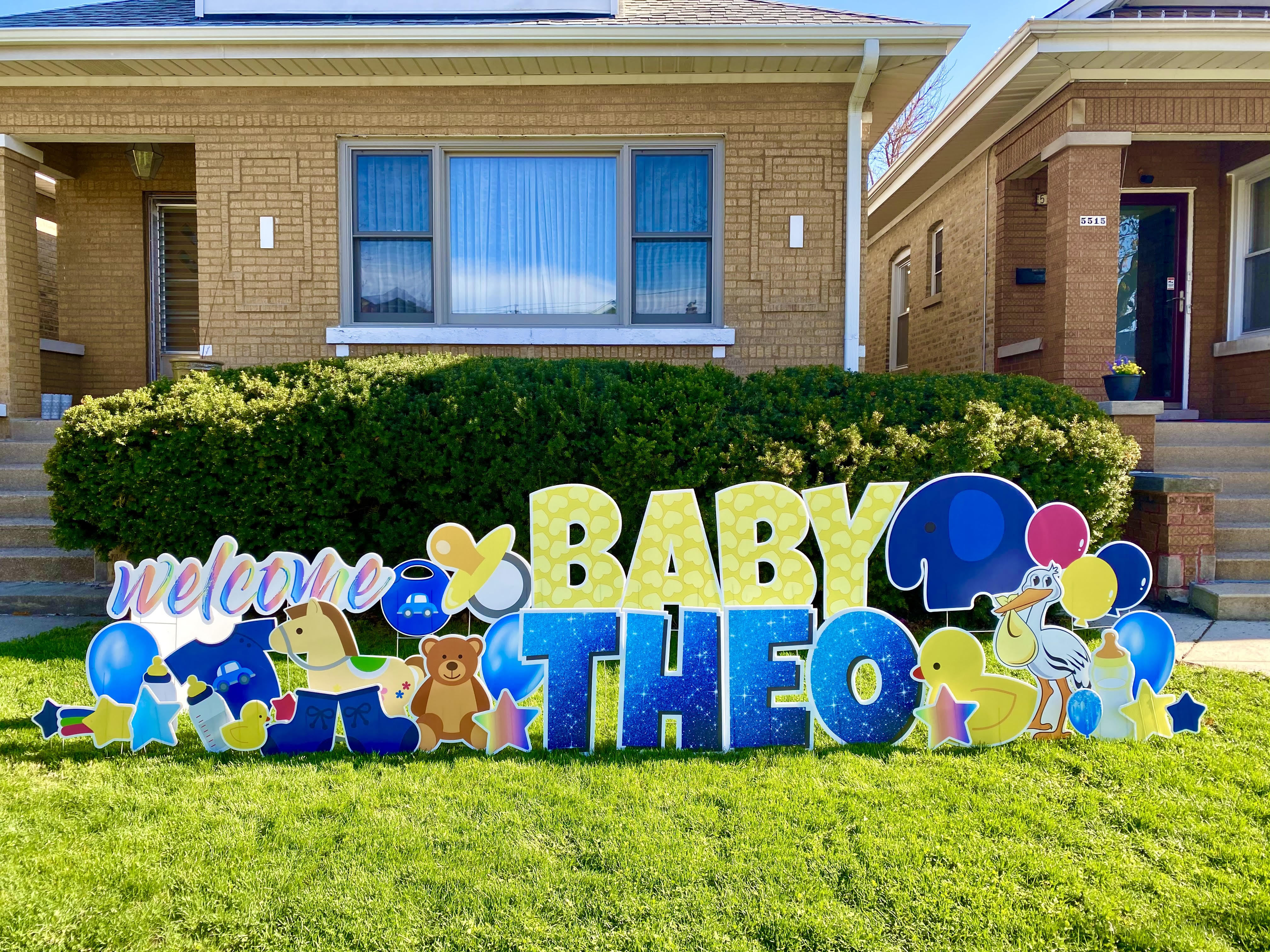 Welcome Baby set, blue sparkle letters