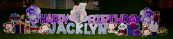 purple and pink set, silver letters
