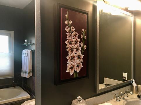 White Gladiolias...perfect bathroom compliment
