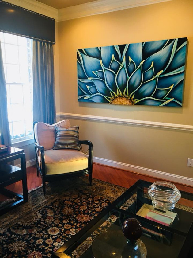 """Blue Dahlia 36"""" x 72"""" Perfect compliment to this sitting room!"""