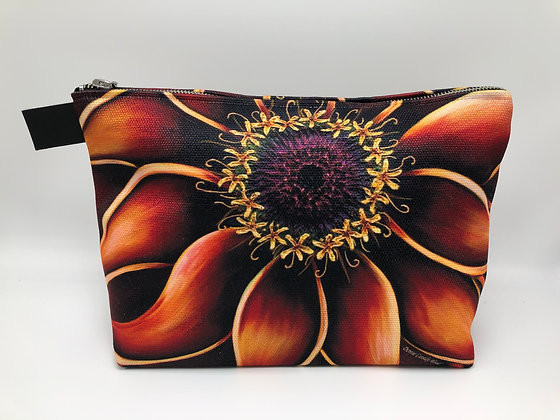 Large Cosmetic/Travel Bag - Orange Zinnia