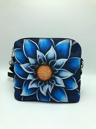 Blue Dahlia Zipper Messenger