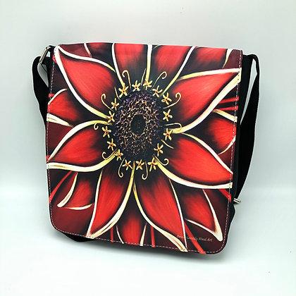 Large Flap Messenger Bag - Red Zinnia