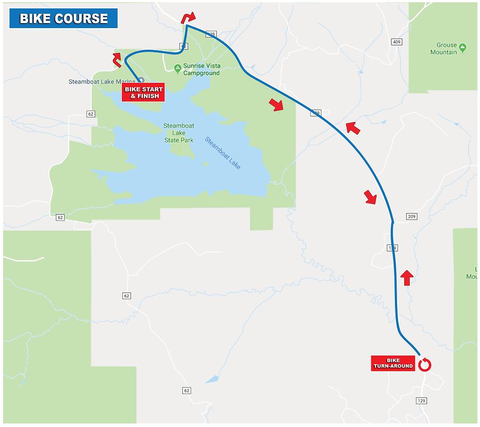Steamboat Lake Triathlon Bike Course Map