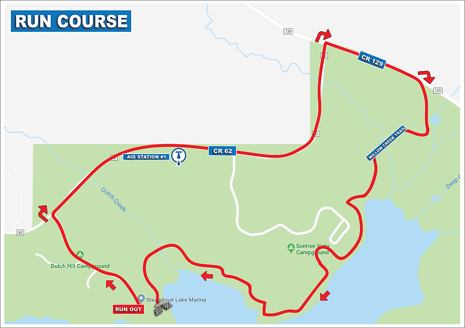 Steamboat Lake Triathlon Run Course Map.