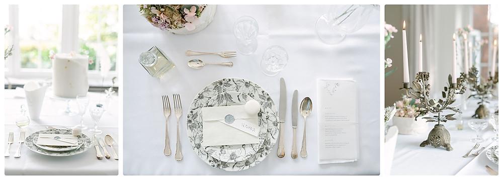 Ideen Tischdeko Sommerhochzeit - Silberbesteck, florales Porzellan