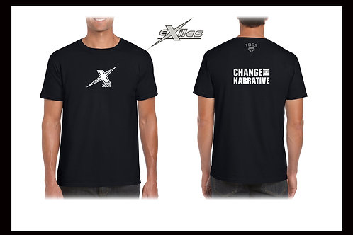 2021 CHANGE THE NARRATIVE Tee Shirt Official Kent Exiles AFC Black or White