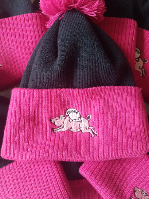 BOBBLE HAT Official Old Streetonians RFC Embroidered Navy /Pink