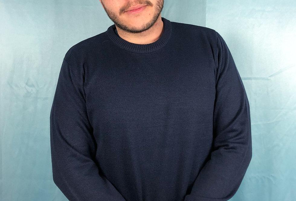 Blusa comprida masculina gola redonda de tricô lisa azul marinho