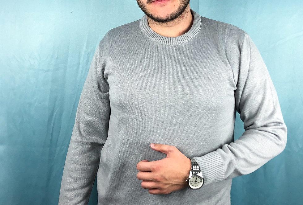 Blusa comprida masculina gola redonda de tricô lisa cinza