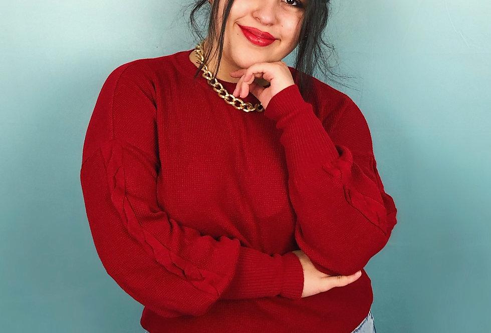Blusa comprida de tricot com detalhes em aran