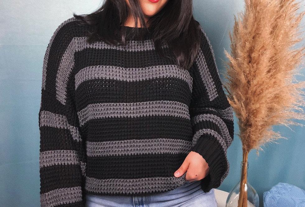 Blusa comprida de tricot listrada