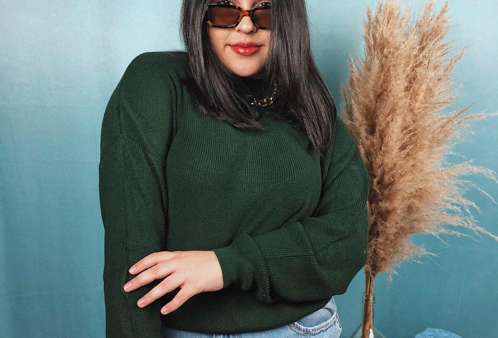 Blusa comprida feminina de tricô básica verde escuro