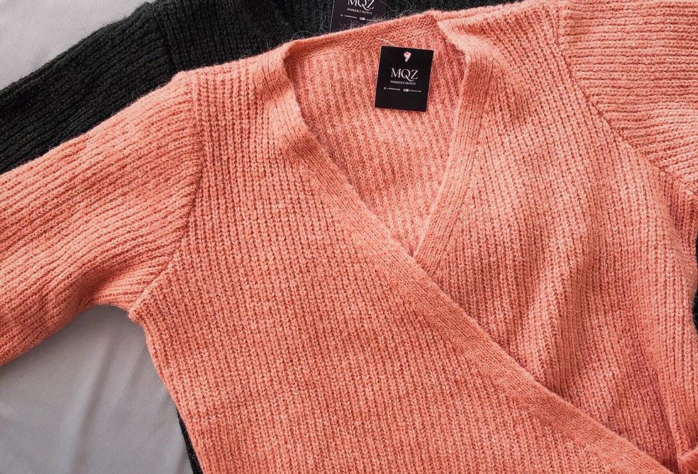 Blusa transpassada de tricot