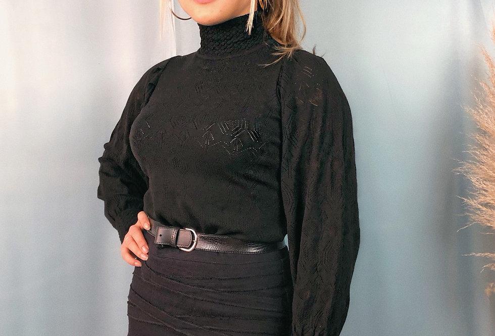 Blusa comprida de tricot com mangas bufantes rendadas