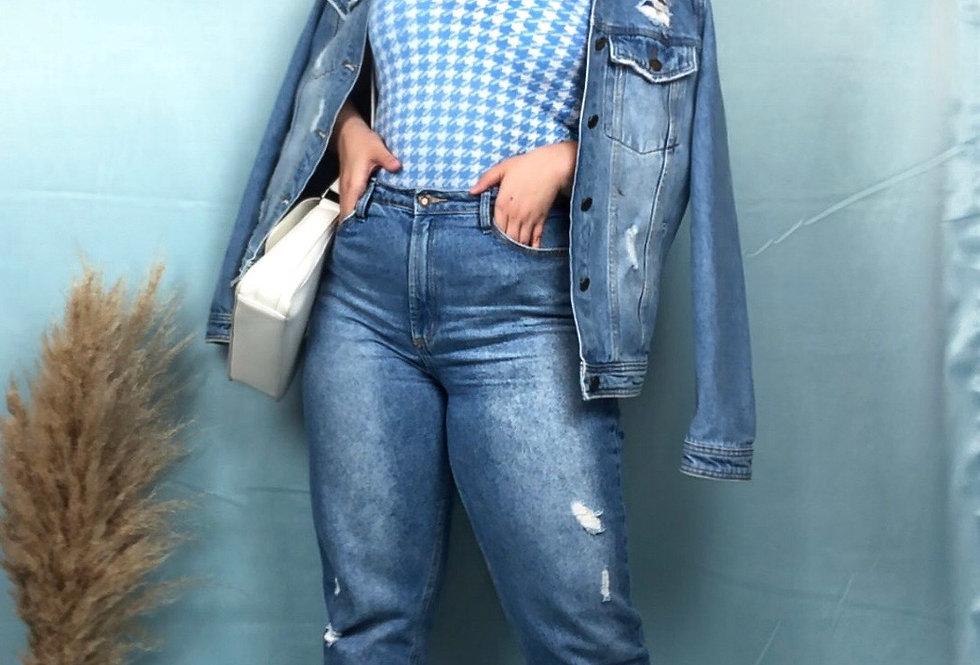 Colete Pied de Poule feminino de tricô azul
