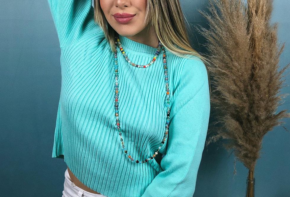 Blusa comprida básica canelada feminina de tricô azul celeste