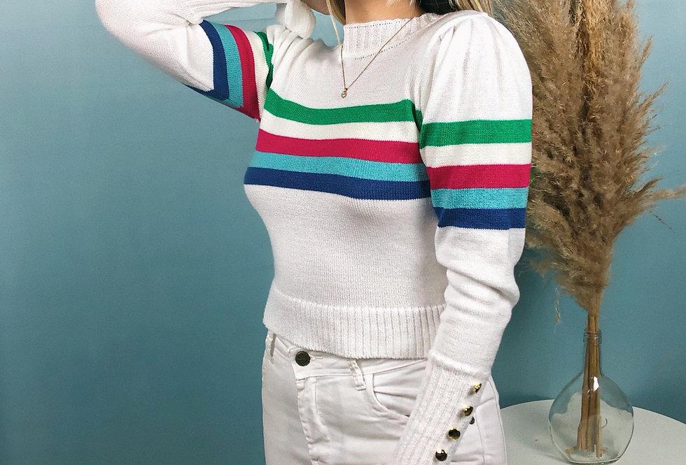 Cropped de manga comprida de tricot arco-íris