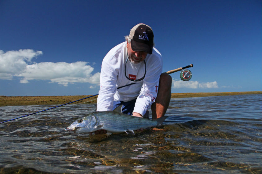 Catching a bonefish is an accomplishment for any angler, novice or expert. Photo courtesy H20 Bonefishing
