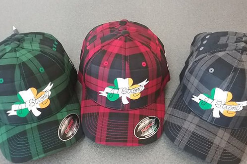 JTStrong plaid baseball cap made by Wicked Flannel